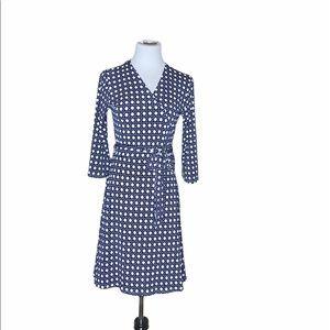 Leota for Stitch fix Navy Geometric Wrap Dress MD